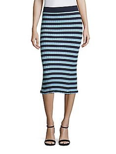 Altuzarra Bloomfield Striped Rib-Knit Skirt