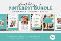 25 beautiful and stunning Pinterest pin design Canva templates for Food Bloggers! These simple-to-customize food blog Pinterest template designs will grow your blog and Pinterest traffic. $27  #sponsored #ad