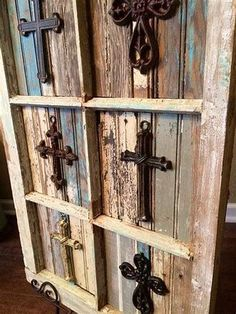 Rustic Crosses Placed on Salvaged Antique Window by JustMeandMom Antique Window Frames, Antique Windows, Old Windows, Vintage Windows, Old Window Crafts, Old Window Projects, Wood Projects, Window Ideas, Wooden Crosses