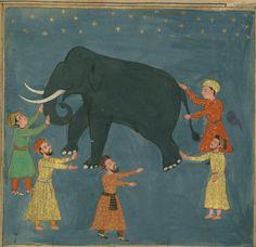 Walters Art Museum, Ms.W.626, f. 117b (The blind men and the elephant).  Jalāl al-Dīn Rūmī, Mas̱navī-i maʿnavī.  India, 19 Dhū al-Qaʿdah 1073 AH / 1663 CE.