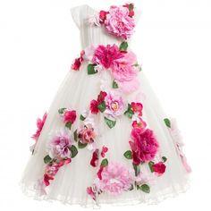Lesy Luxury Flower Girls White Tulle Floral Dress at Childrensalon.com