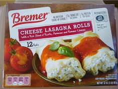 "Bremer Cheese Lasagna Rolls were $5.99 for a 32-oz. package at the time of publication. One box contains 12 rolls, with 12 servings per container, which comes out to about 50 cents per serving. They have ""a rich blend of ricotta, Parmesan, and Romano cheeses,"" and they're found year round in the Regular Buy freezer section. A one-roll serving nets you 160 calories, 3.5 grams of total fat (6% DV), 2 grams of saturated fat (9% DV), 160 mg of sodium (7% DV), 25 grams of total carbohydrates (8%… No Boil Lasagna, Cheese Lasagna, Lasagna Rolls, No Noodle Lasagna, Homemade Lasagna, Homemade Sauce, How To Make Lasagna"