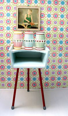 Vintage little cabinet/table and great prints!