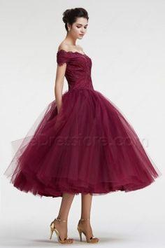 96311f85e348 Burgundy Off the Shoulder Ball Gown VIntage Prom Dresses Tea Length Vintage  Tea Length Dress,