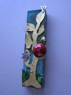 Pomegranate and Tree of Life Mezuzah By Ruth Shapiro
