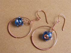 Blue Glass Bead Hoop / Dangle Earrings by BazaarCharlotte on Etsy, $10.00