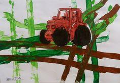 Un champs créé avec des traces de voitures trempées dans la peinture qui roulent sur la feuille