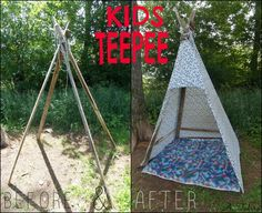 Kids Teepee  Supplies Used: Misc Slat boards (4) Clothesline rope Full sized Sheet Small nails #teepee #tent #kids #fun #diy
