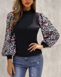 Mock Neck Lantern Sleeve Sequins Colorblock Insert Blouse Women's Online Shopping Offering Huge Discounts on Dresses, Lingerie , Jumpsuits , Swimwear, Tops and More. Trend Fashion, Look Fashion, Fashion Outfits, Womens Fashion Online, Pattern Fashion, Mock Neck, Sleeve Styles, Shirt Blouses, Blouses For Women