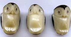3 small Owl Buttons made of Vegetable Ivory