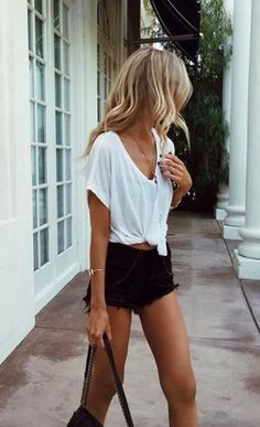 Tie it in a knot ... white tee and black denim shorts