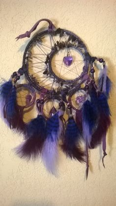 Crescent Moon Dream Catcher, dreamcatcher with Amethyst Crystal beaded crescent moon,fancy feathers,crystal hearts,all in purple lavender by DreamCatcherMan on Etsy