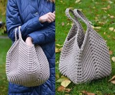 Bag of knitted yarn over the shoulder. Slouchy bag of .free knitting pattern: boys baby clothes models - image for youHow To Crochet A Bag Free Tutorial - Crochetopedia Crochet Market Bag, Crochet Tote, Crochet Handbags, Crochet Purses, Crochet Gifts, Crochet Yarn, Knitting Yarn, Crochet Stitches, Crochet Patterns
