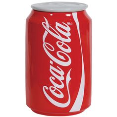 Collectible Retro 8 Inch Coca-cola Coke Can Shaped Ceramic Canister With Lid - 11 Main