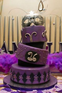 Masquerade Sweet 16 Cake by FrostedWithEmotion