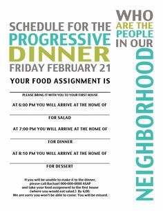 Ward, Neighborhood Progressive Dinner Activity