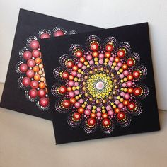 Original Mandala Painting 15x15cm on Canvas by CreateAndCherish
