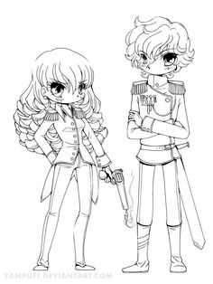 Meet General Cassian and Captain Gabriella (with the gun and the curls). Cassian and Gabriella Coloring Sheets, Coloring Books, Chibi, Creation Art, Christmas Coloring Pages, Digi Stamps, Manga, Christmas Colors, Big Eyes
