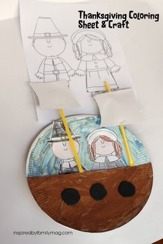 Thanksgiving Coloring Page and Mayflower Ship Craft - Free printable and fun graft for your Thanksgiving gathering. Perfect for the classroom!