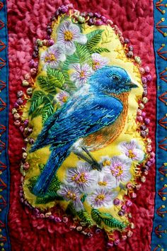 Beautiful texture and color!  It's so lovely. The idea to embroider over a print was very clever.