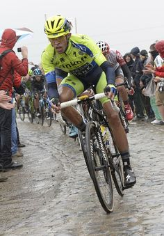 Tour de France 2014 - Stage 5: Ypres - Arenberg Porte du Hainaut 155.5km photos - Alberto Contador (Tinkoff-Saxo) did not have a great day on the cobbles Photo credit © Bettini Photo