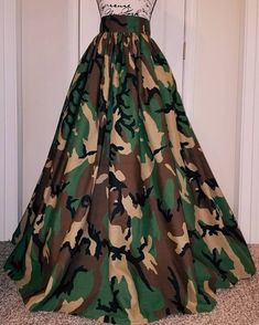 Green Camouflage Maxi Skirts, Military Clothing Women, Africa clothing for woman, African clothing f Camouflage Fashion, Camo Fashion, Work Fashion, Fashion Dresses, Military Inspired Fashion, Military Fashion, Cotton Maxi Skirts, Camo Skirt, Looks Chic