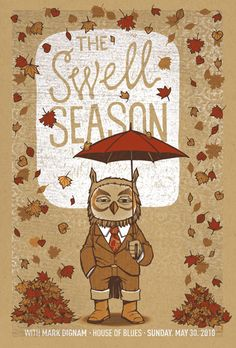 A nod to both the owl found on their current merch as well as the first Swell Season poster I had the privilege of doing.