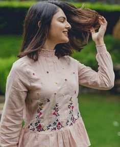 Best 12 Beautiful detailing with embroidery and pleats and sleeves – SkillOfKing. Kurti Sleeves Design, Kurti Neck Designs, Dress Neck Designs, Frock Fashion, Fashion Outfits, Kids Fashion, Dress Paterns, Cotton Frocks, Short Frocks