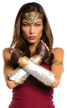 Wonder Woman Fancy Dress Costume Headband-Gold GauntletsGloves Lasso of Truth Necklace DC COMICS Superhero