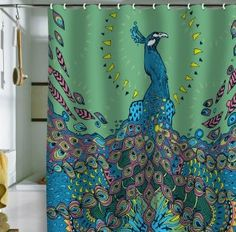 Deny Designs Peacock Shower Curtain | Think i'm in love with al these bathroom ideas