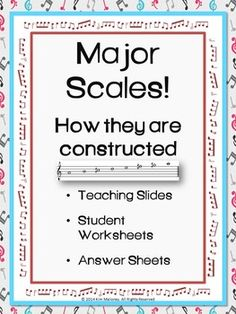Major Scales: Teaching information that can be printed or projected and ten Worksheets. Answers also included. There is also a workbook cover page for you to create a student workbook if you want to!    28 pages!    $