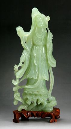 A Chinese Carved Serpentine Jade Beauty: carved from the jade with light green tone as a beauty standing in flowing r. on May 2013 Coral, Turquoise, Oriental Decor, Ancient Beauty, Chinese Ceramics, Jade Jewelry, Agate, Stone Carving, Chinese Art