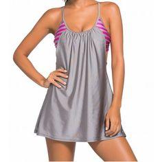 Tankini robe de plage à rayure & uni gris 34 AU 54 - bestyle29.com