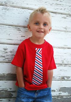 Fourth of July outfit for boys! Tie t-shirt for the 4th!