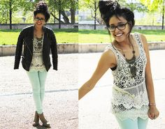 Crochet and biker look!! (by Sherazade A) http://lookbook.nu/look/3385333-Crochet-and-biker-look