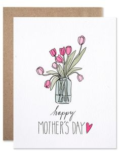 Mother's Day Tulips Card by Hartland Mothers Day Crafts For Kids, Mothers Day Cards, Happy Mothers Day, Cute Mothers Day Gifts, Mothers Day Presents, Mothers Day Post, Mothers Day Drawings, Tarjetas Diy, Diy Mother's Day Crafts