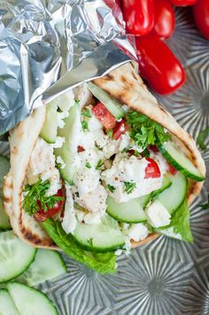Easy Gyro Chicken - when it's too hot to cook! Rotisserie chicken with Mediterranean topping to ad flavors - haven't tried it yet!
