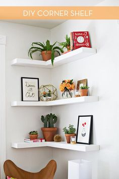 Want to save space with floating shelves? Of course you do. These corner shelves are the perfect way to help you accessorize while keeping the floor clear.        Head on over to A Beautiful Mess to see the tutorial complete with pictures! DIY Floating Corner Shelves by [A Beautiful Mess]