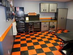 Ideas Bright Orange Checkered Floor Paired With Two Tone Wall Paint Colors Also Black Garage Interior Set Smart Garage Design Ideas
