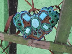 Turquoise Soutache Necklace by MaidenAndMuriel on Etsy, £35.00