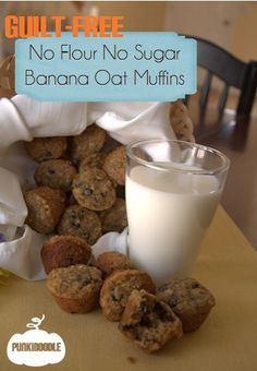 No flour or sugar Banana oat muffins! Pop them in a ziploc bag in the freezer for instant healthy breakfast on the go.