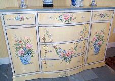 This web site has many pieces of furniture ,with hand painted roses by Marjorie Harris Clark, so best to click through as the pics are too small to pin - you can see larger at the site.