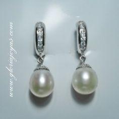 #Pendientes de perla, plata y circonita para #novias #pingentesdeprata #pendantssilver #colgantesplata #pendientesplata