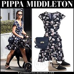 Pippa Middleton in navy floral print mini dress and black espadrilles Wrap Dress Outfit, Navy Dress Outfits, Wrap Dress Floral, Dresses, Espadrilles Outfit, Black Espadrilles, Middleton Family, Pippa Middleton, Celebrity Outfits