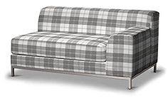 Dekoria Fire Retarding Ikea Kramfors 2-seater sofa right cover - grey & white tartan