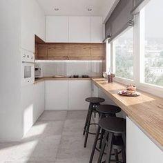 As grandes aberturas das janelas dessa cozinha garantem boa luminosidade, boa ventilação e um vista privilegiada para todas as refeições! . Vamos planejar sua cozinha? Escreve pra gente! . #conectarq #decor #design #interiores #arquitetura