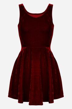 Red or Black Velvet Fit + Flare Sleeveless Skater Mini Dress