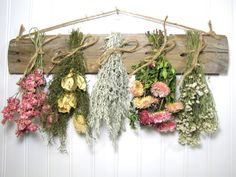 Dried Flower Rack, Dried Floral Arrangement, Wall Decor, Dried Flowers, Country, Drying Rack, Primitive Decor