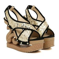 Stylish Women's Sandals With Sequins and Strange Heel Design Gladiator Sandals, Women's Sandals, Silver Sandals, Glamour, Designer Heels, Sammy Dress, Shoe Boots, Shoes, Sequins