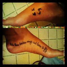"love my tattoos; The Beatles: ""take these broken wings and learn to fly"""
